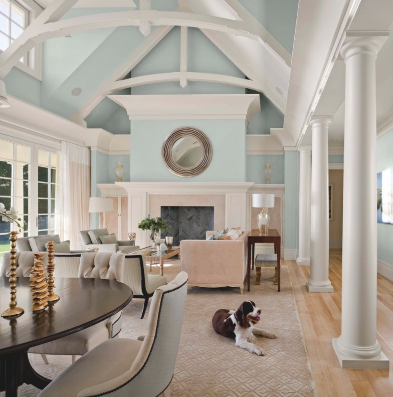 Luxurious Oceanside Home In Colors Of Water – Transitional in Best of Transitional Living Room Furniture