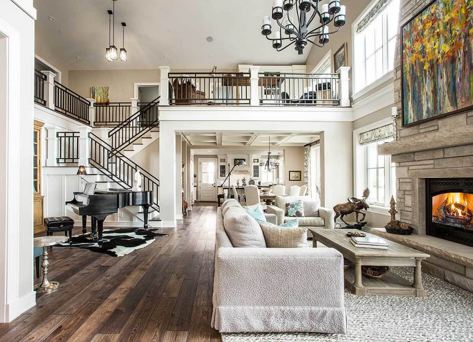 Luxury Contemporary Craftsman Home With Amazing Landing Pertaining To Lovely 2 Story Living Room Decorating Ideas Awesome Decors