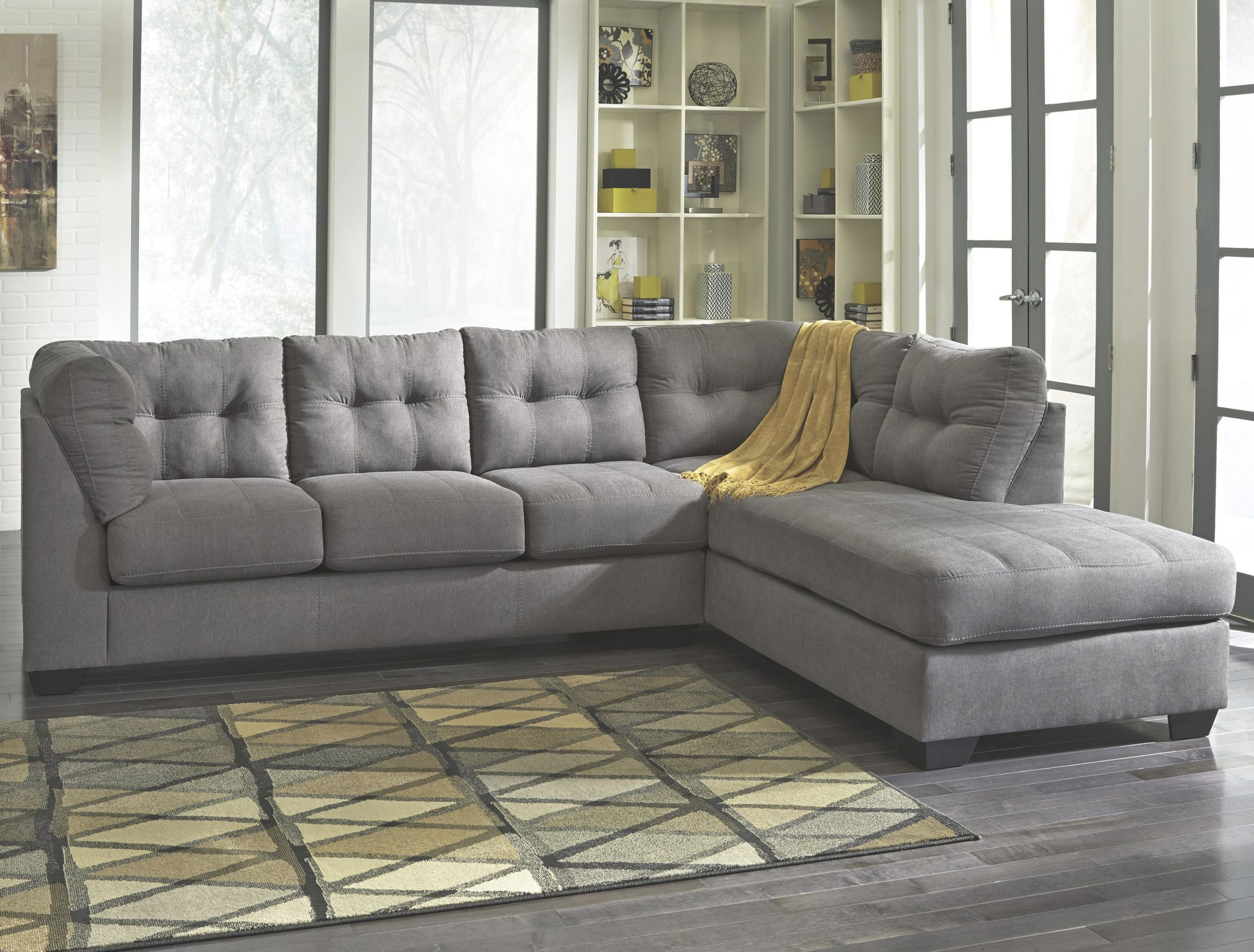 Maier – Charcoal 2-Piece Sectional W/ Sleeper Sofa & Right Chaise Benchcraft At John V Schultz Furniture throughout 2 Piece Sectional With Chaise