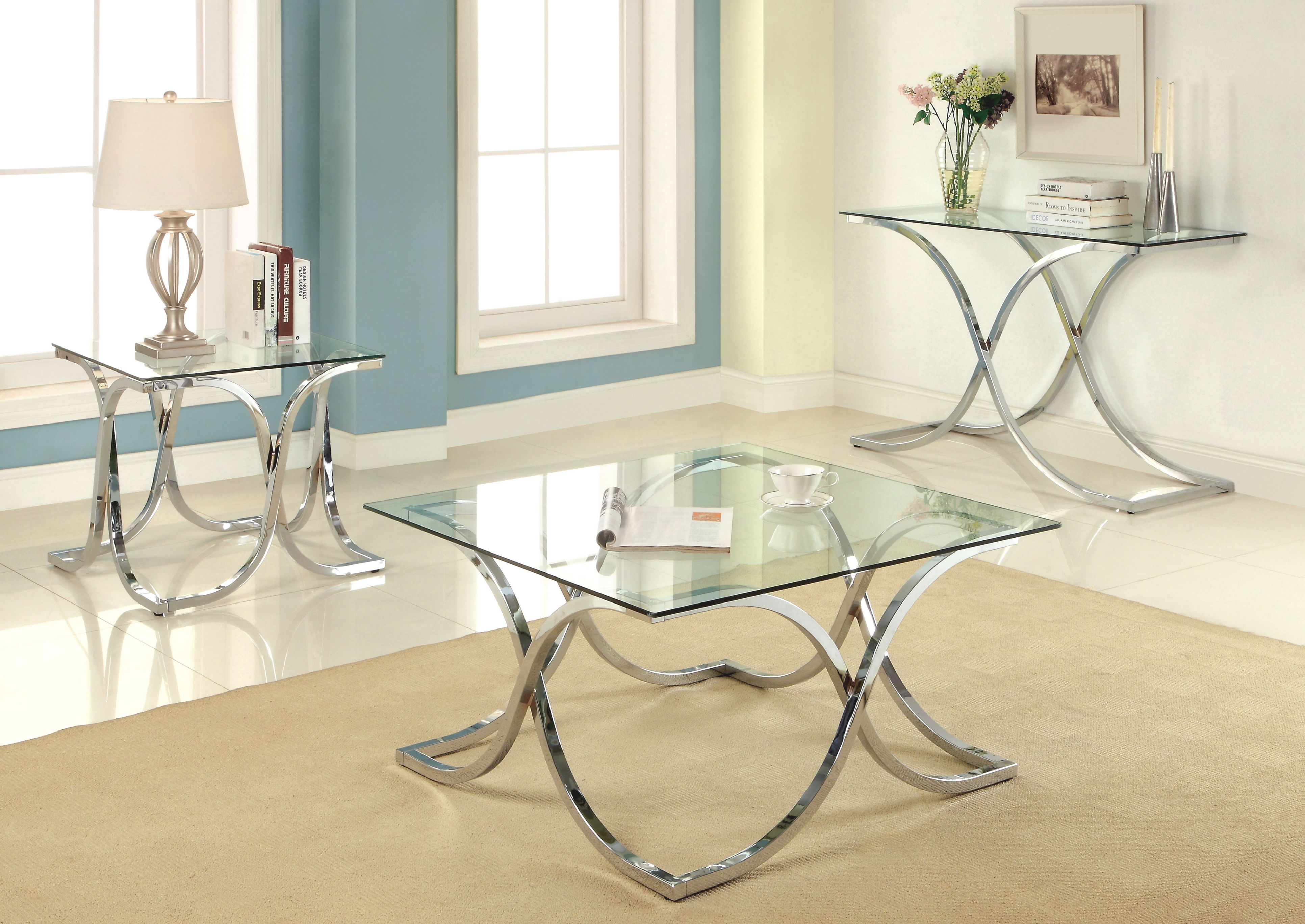 Malvern 3 Piece Coffee Table Set in 3 Piece Glass Coffee Table Set