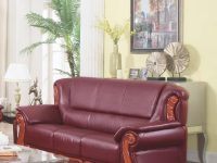 Meridian 632 Bella Burgundy Bonded Leather Living Room Sofa Traditional Classic in Burgundy And Grey Living Room
