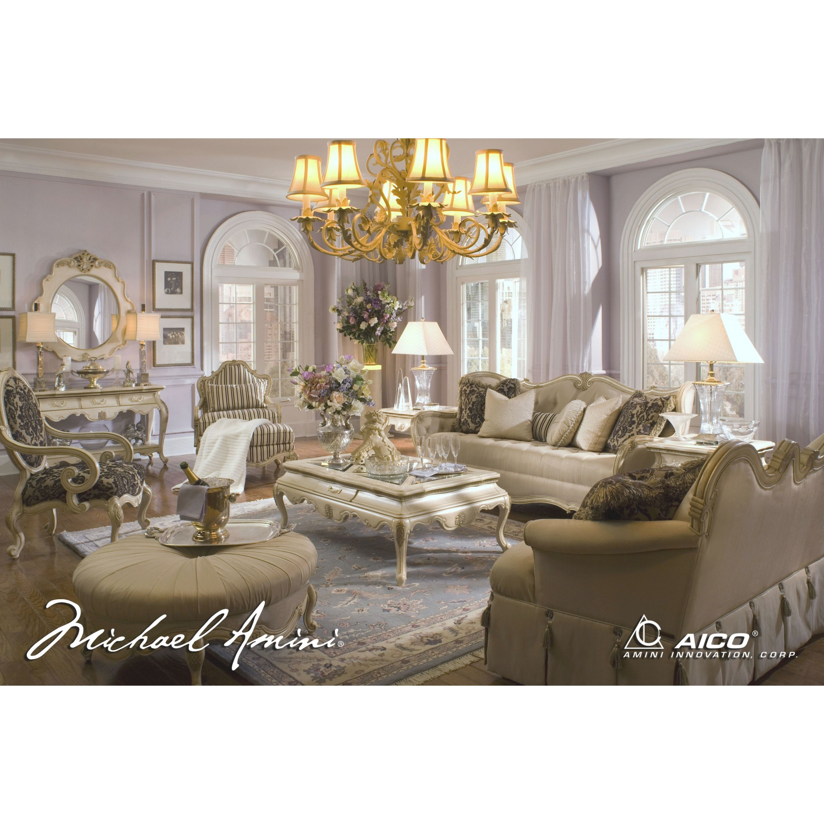 Michael Amini 4Pc Lavelle Blanc Living Room Sofa Setaico within Lovely Michael Amini Living Room Furniture