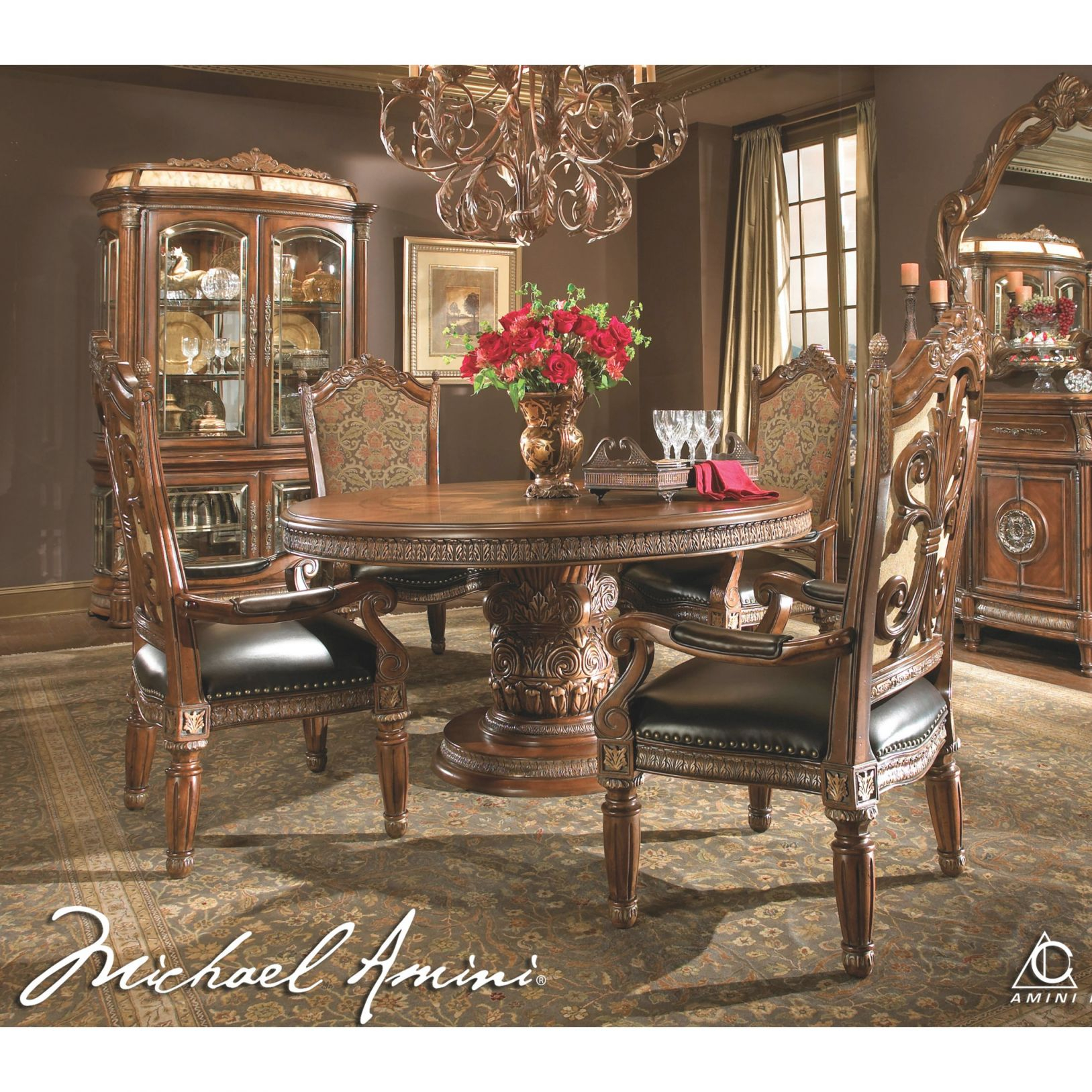Michael Amini 5Pc Villa Valencia Round / Oval Dining Table Set & 4 Arm Chairsaico intended for Lovely Michael Amini Living Room Furniture