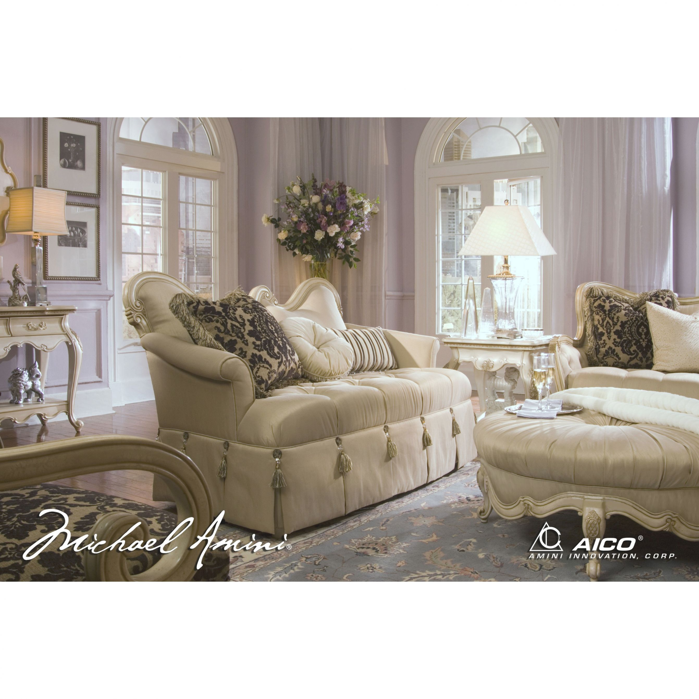 Michael Amini Lavelle Blanc Wood Trim Settee Loveseataico regarding Lovely Michael Amini Living Room Furniture