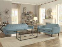 Mid Century Modern Design Sofa And Loveseat Teal Color in Elegant Teal Living Room Furniture