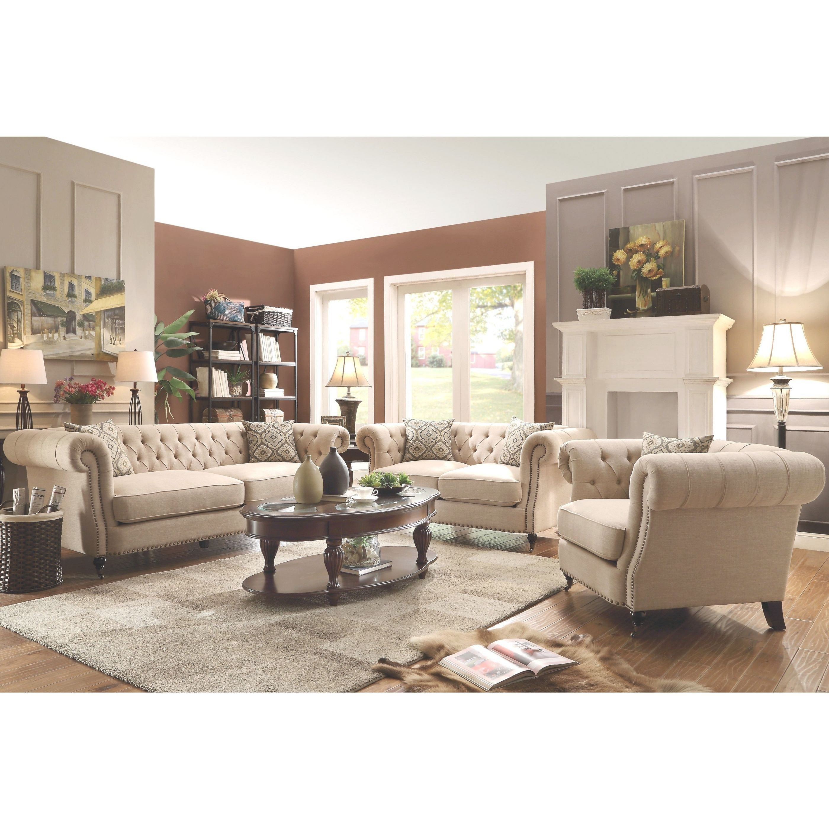 Mid-Century Posh Living Room Sofa Collection With Tufted Design And Nailhead Trim within Living Room Furnitures