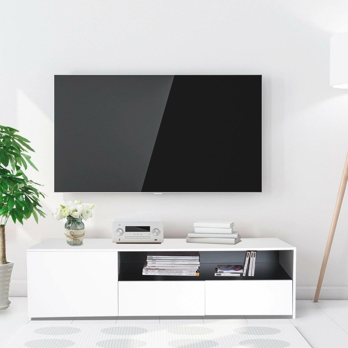 """Mifley Modern Contemporary Storage Unit Tv Stand For Tvs Up 63"""" throughout Stylish Tv Unit"""