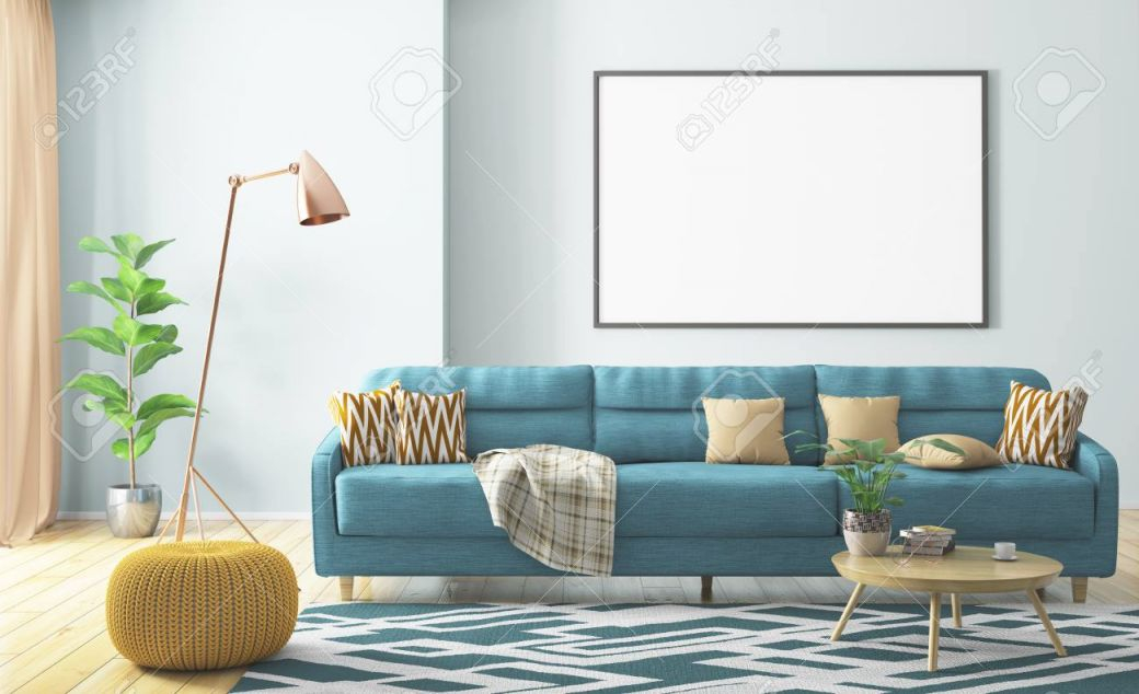 Modern Interior Of Living Room With Turquoise Sofa, Yellow Knitted.. within Elegant Turquoise Living Room Furniture