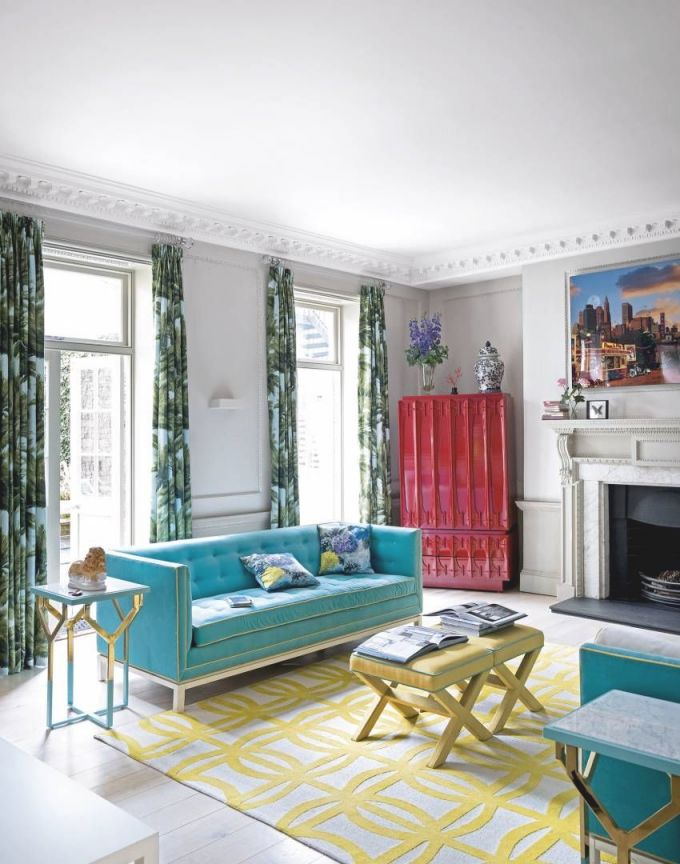 Modern Living Room With Turquoise Sofas And Palm-Print for Elegant Turquoise Living Room Furniture