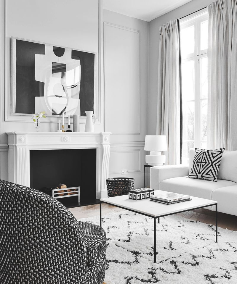 Modern Monochrome Living Room With Graphic Artwork | Homes with regard to Elegant Monochrome Living Room Decorating Ideas
