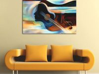 Modern Wall Decorations Living Room Abstract Musical Instruments Violin Oil Painting Canvas Art Wall Mural Pictures with Modern Wall Decor For Living Room