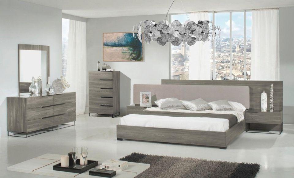 Modrest Enzo Italian Modern Grey Oak & Fabric Bedroom Set with regard to New Modern Bedroom Furniture Sets