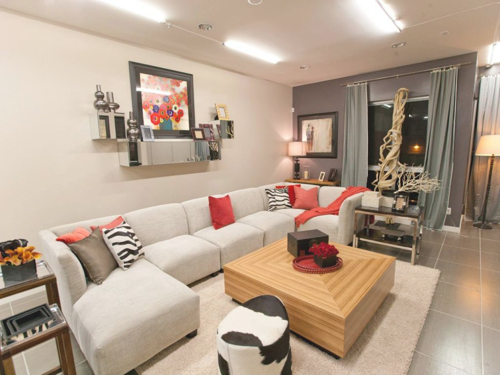 Neutral Contemporary Living Room With Animal Print And Red regarding Animal Print Living Room Decor