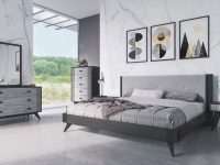 Nova Domus Panther Contemporary Grey & Black Bedroom Set with Black Bedroom Furniture Set