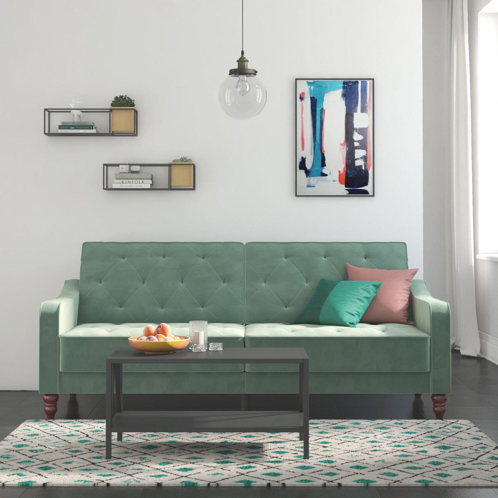 Novogratz Vintage Tufted Velvet Split Back Sofa Bed, Multiple Colors intended for Teal Living Room Furniture