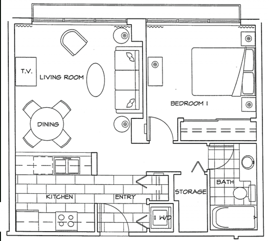 One Bedroom Apartment inside One Bedroom Apartment Floor Plans