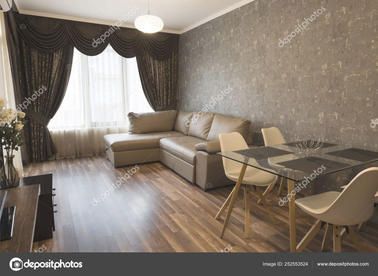 Open Space Living Room. New Home. Room With Brown Color Tone throughout Curtains For Living Room With Brown Furniture