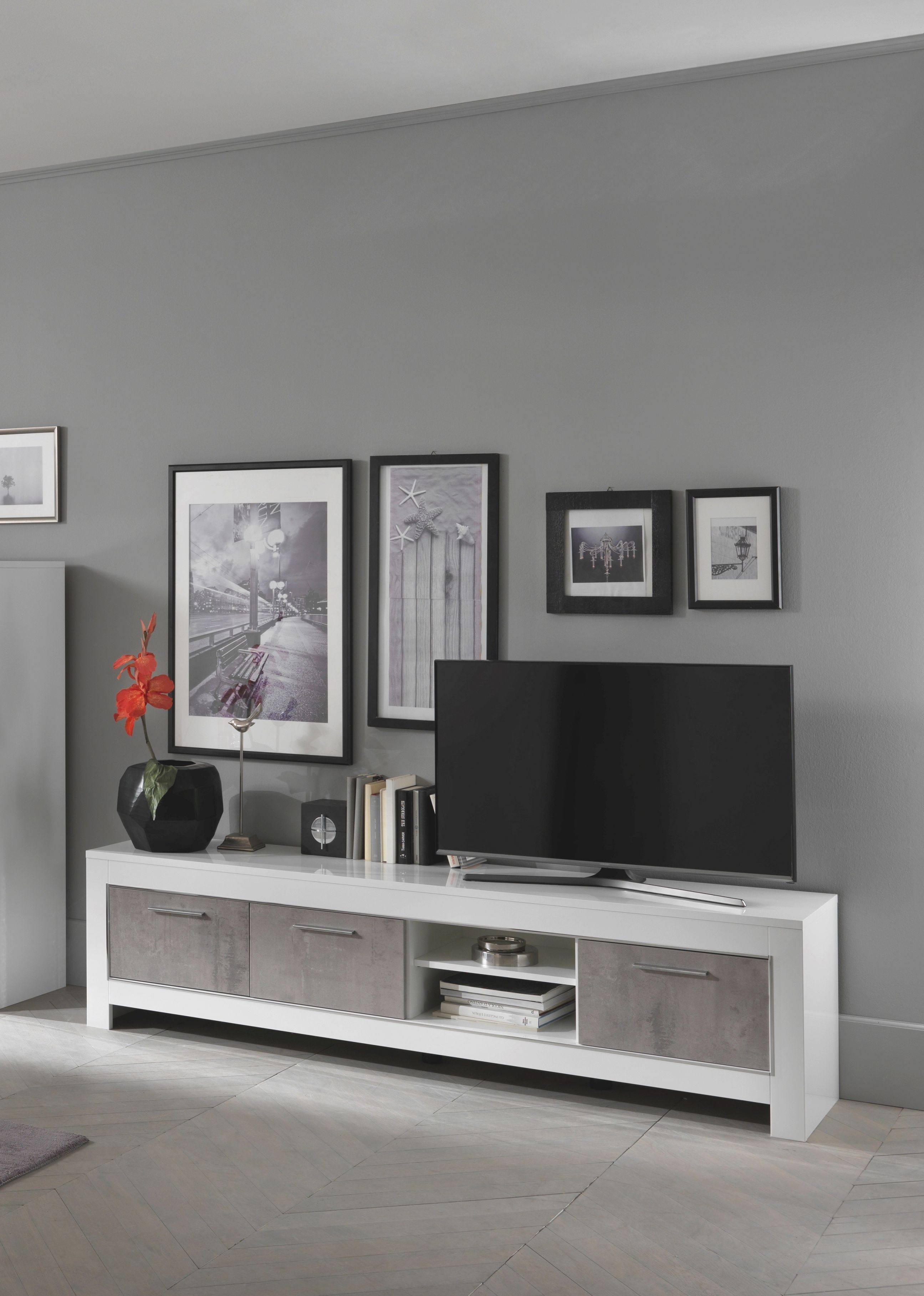 Orion Italian White And Grey Marble High Gloss Tv Unit 207Cm regarding Awesome Stylish Tv Unit