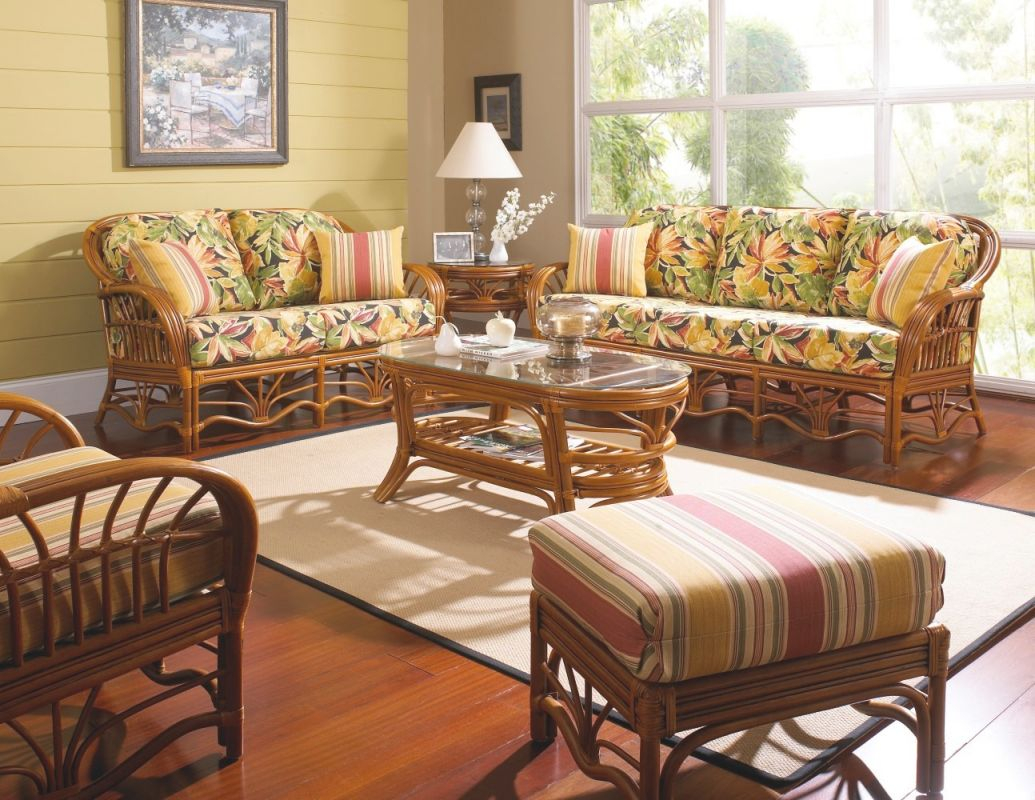 Palm Harbor Rattan 6 Pc. Living Room Walnut Stain Set Model 8600 From South Sea Rattan in Elegant Rattan Living Room Furniture