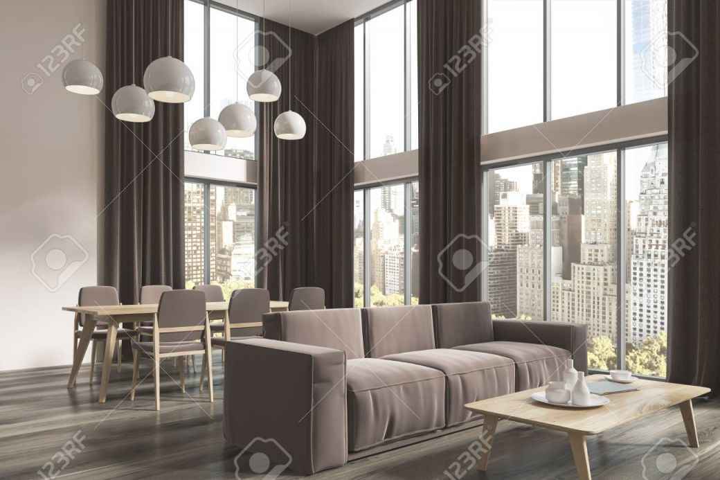 Panoramic Living Room Corner With White Walls, Large Windows.. pertaining to Best of Curtains For Living Room With Brown Furniture