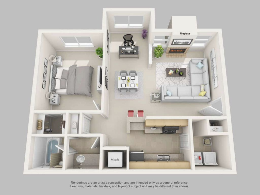 Park On Clairmont Apartments | Floor Plans And Models for Fresh One Bedroom Apartment Floor Plans