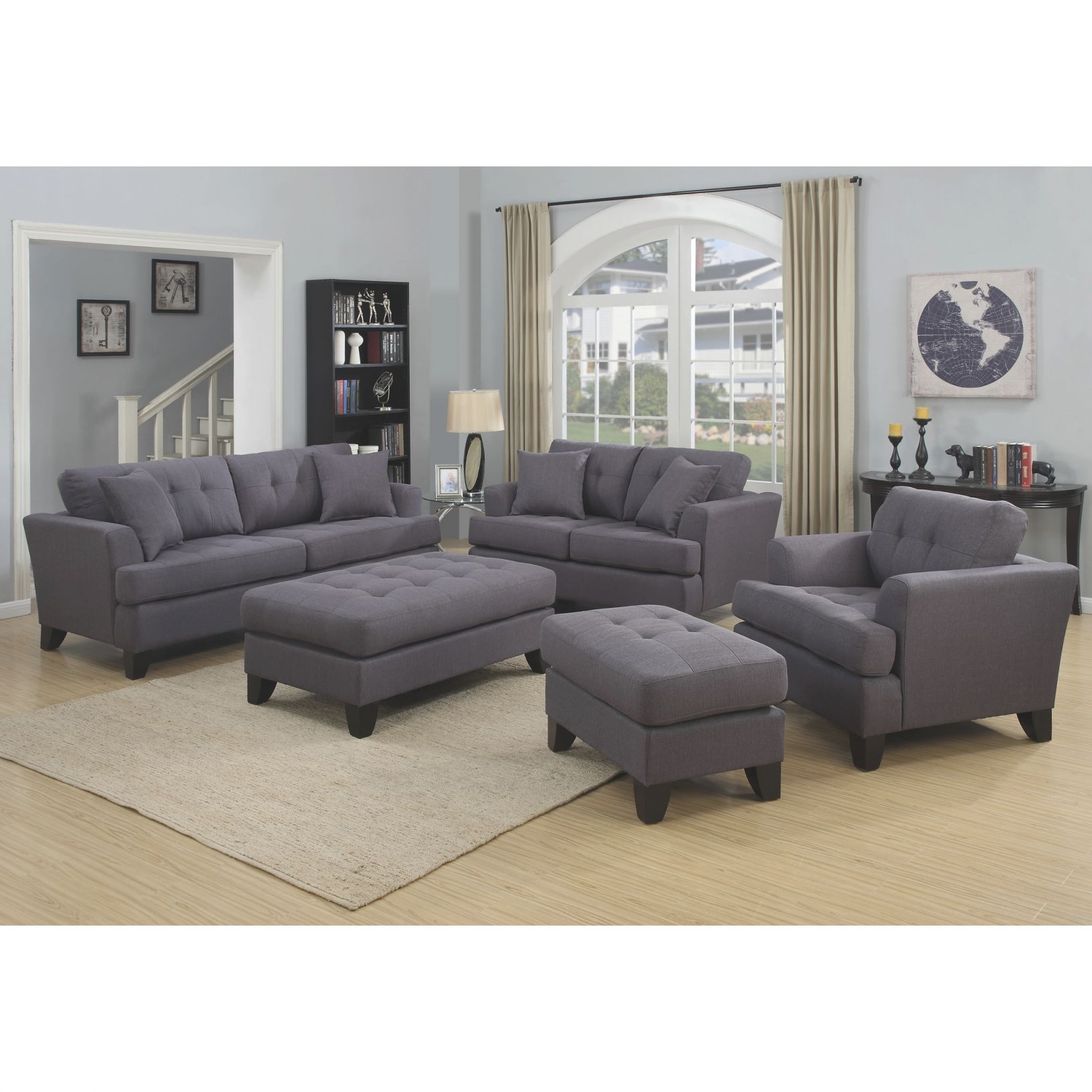 "Porter Norwich Charcoal Grey Living Room Set With 4 Throw Pillows - 37""h X 41""d X 187""w throughout Grey Living Room Furniture Set"