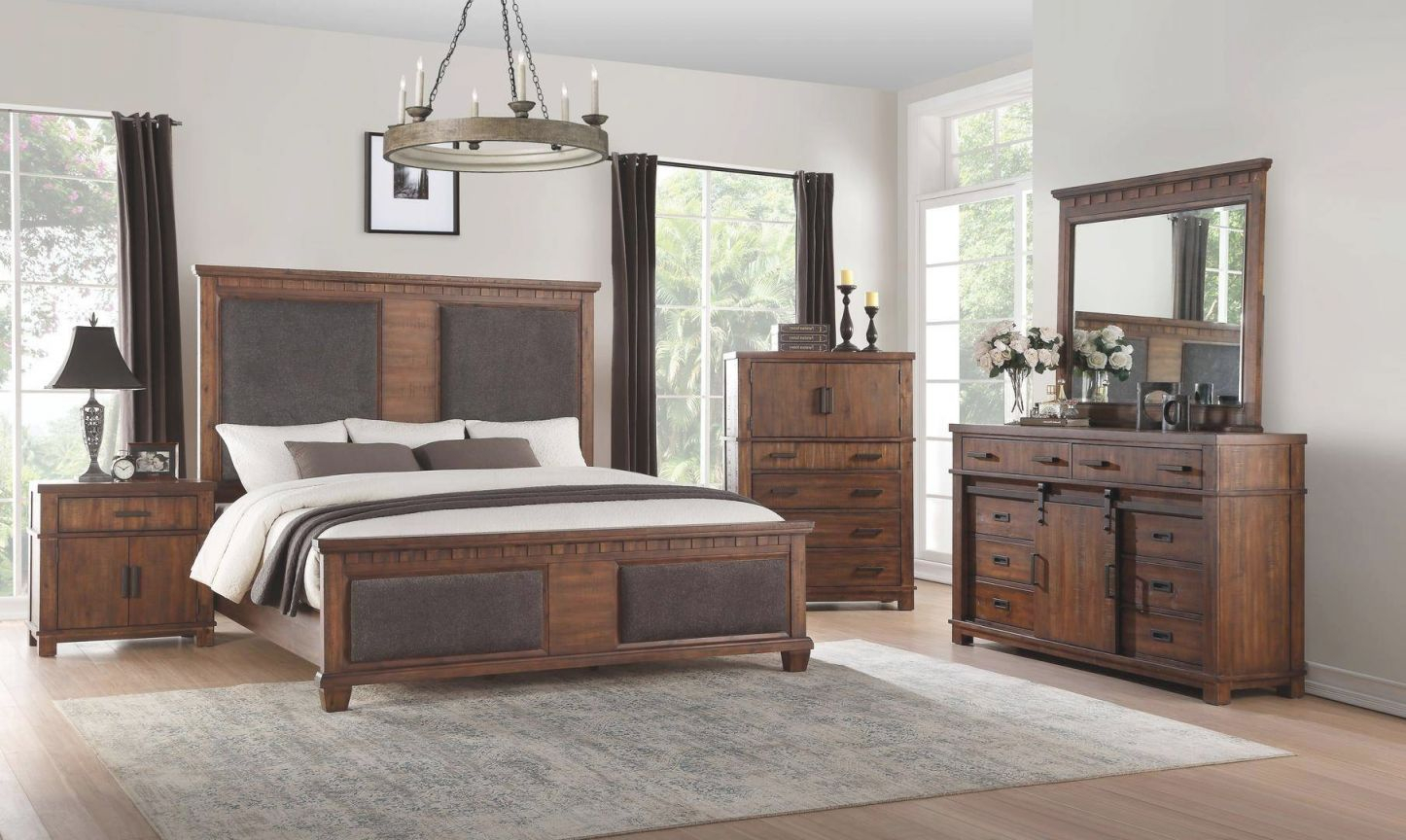 Queen Bedroom Set 3 Pcs Cherry Oak & Brown Fabric 27160Q Vibia Acme within Cheap Queen Bedroom Furniture Sets