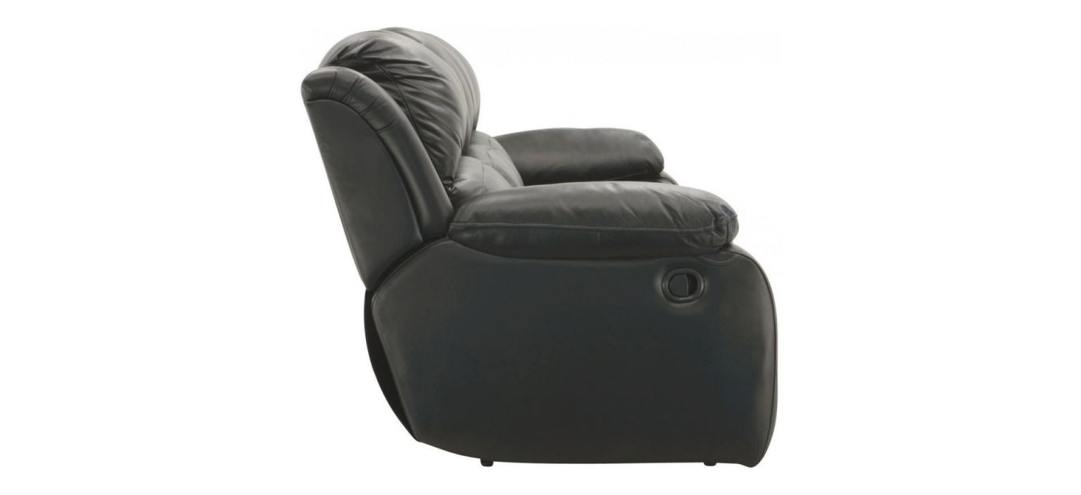 Raymour & Flanigan Black Leather Reclining 3-Seater Sofa intended for Raymour And Flanigan Sleeper Sofa