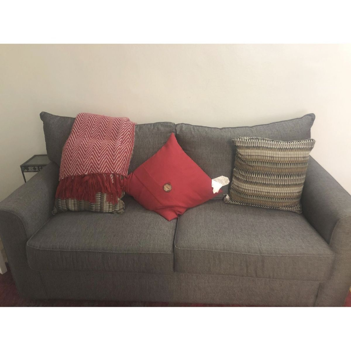 Raymour & Flanigan Grey Full Sleeper Sofa W/ Throw Pillows intended for Raymour And Flanigan Sleeper Sofa