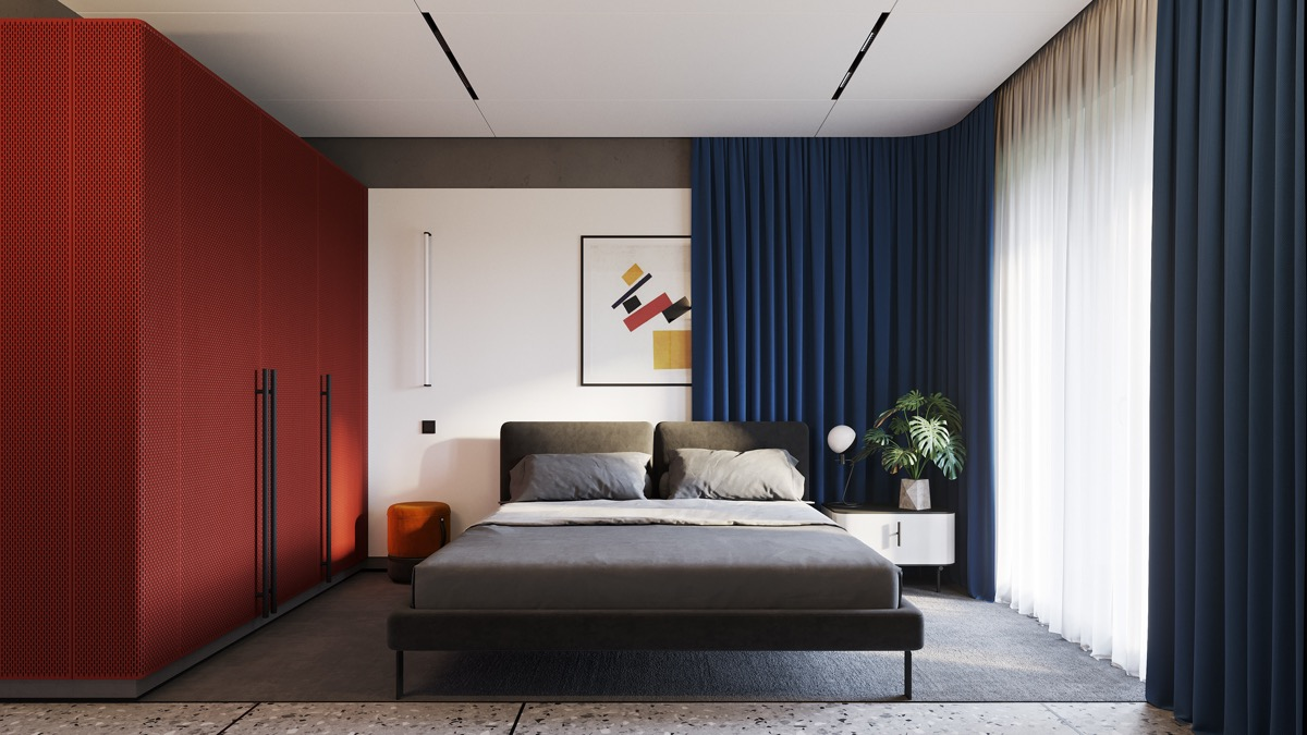 red-and-blue-bedroom