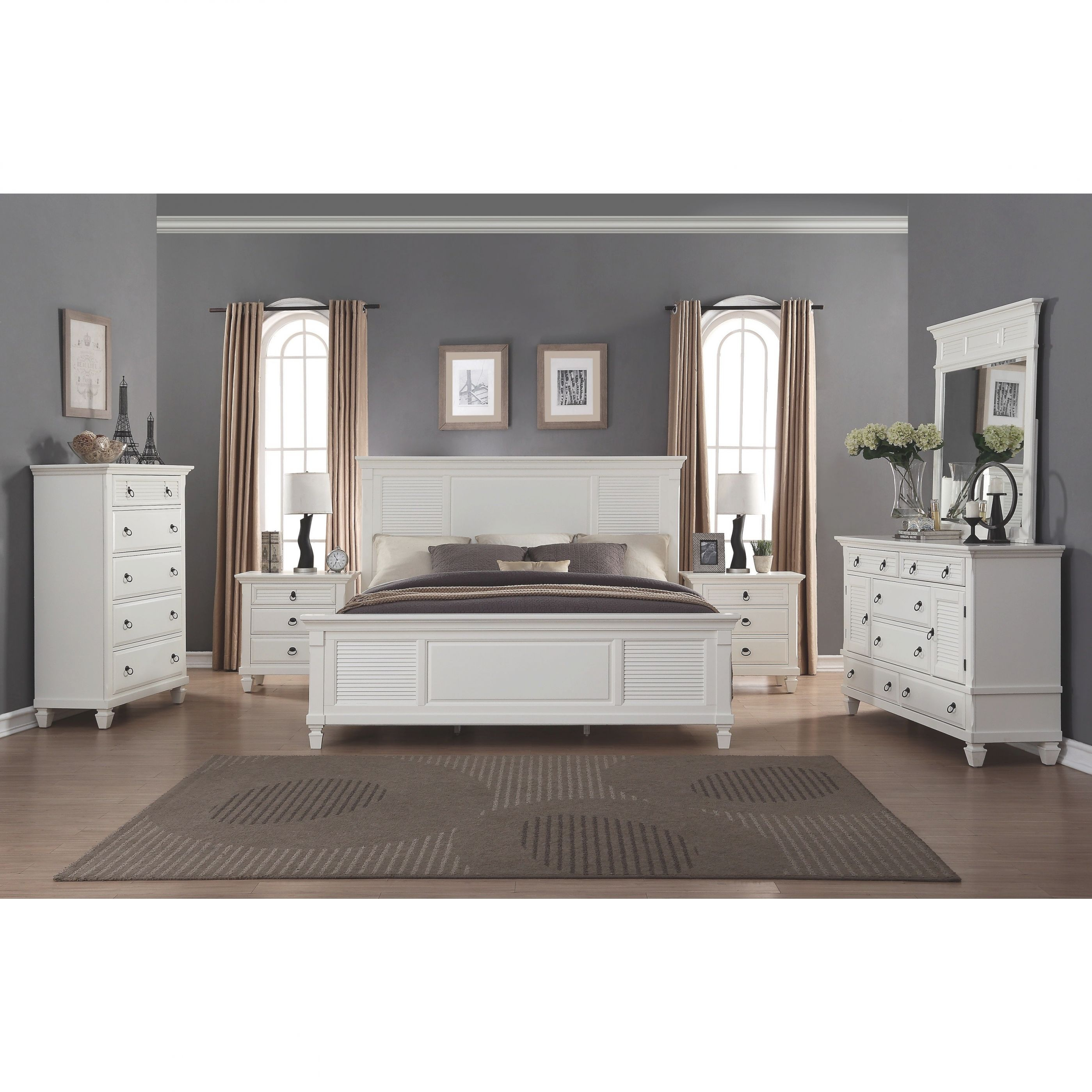 Regitina White 6-Piece King-Size Bedroom Furniture Set pertaining to Beautiful Cheap White Bedroom Furniture Sets