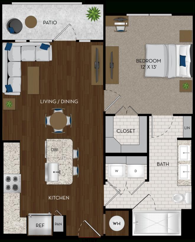 Relax In Luxury One-Bedroom Apartment In Houston With Alexan intended for One Bedroom Apartment Floor Plans