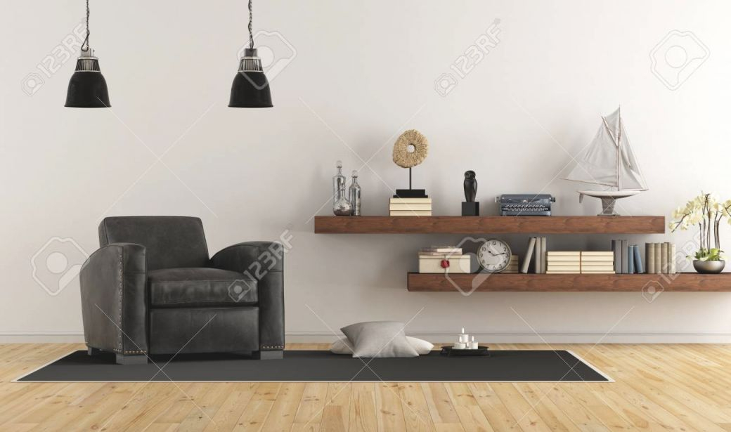 Retro Vintage Living Room With Leather Armchair And Wooden Shelves.. inside Fresh Retro Living Room Decor