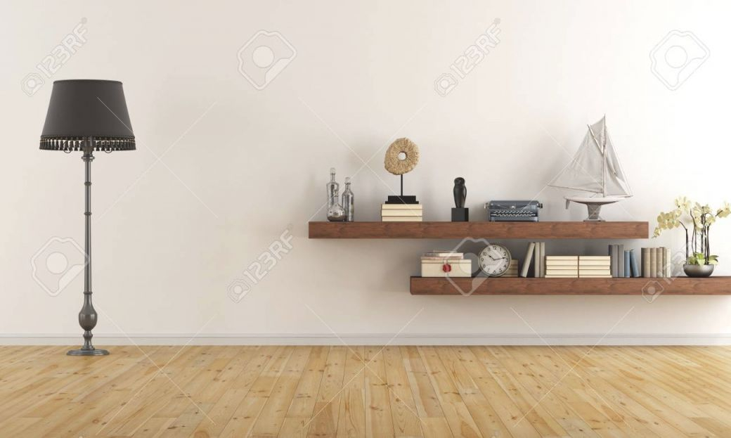 Retro Vintage Living Room With Wooden Shelves With Books And.. within Fresh Retro Living Room Decor