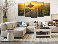 Rural Landscape, Trees, Sunset, Plantation, Wall Art, Canvas Set, Multi Panels Canvas, Large Wall Decor, Living Room Artwork, Modern Decor in New Modern Wall Decor For Living Room