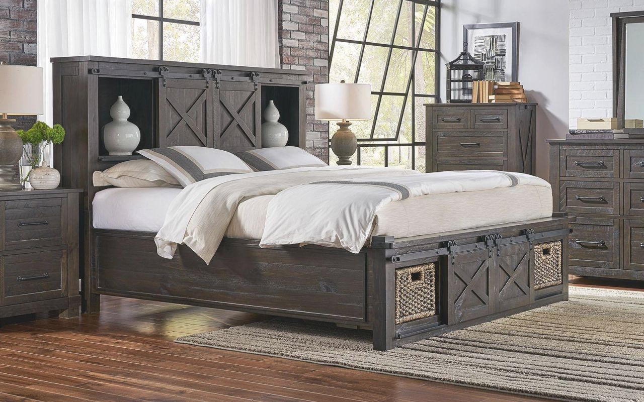 Rustic King Rotating Storage Bedroom Set 3Pcs Suvcl5133 A pertaining to Bedroom Sets King