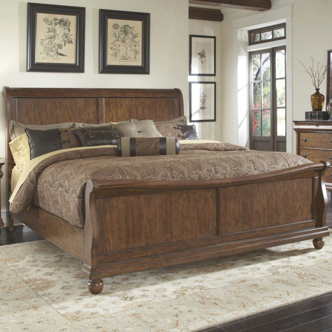 Rustic Traditions Queen Sleigh Bed Set With Bun Feetliberty Furniture At Wayside Furniture with Unique Rustic Bedroom Furniture Sets