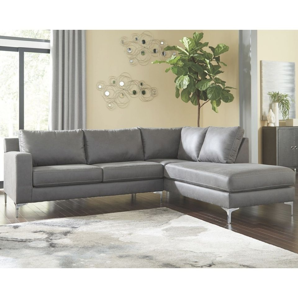 Ryler 2-Piece Sectional With Chaise – Right Facing – Charcoal for 2 Piece Sectional With Chaise