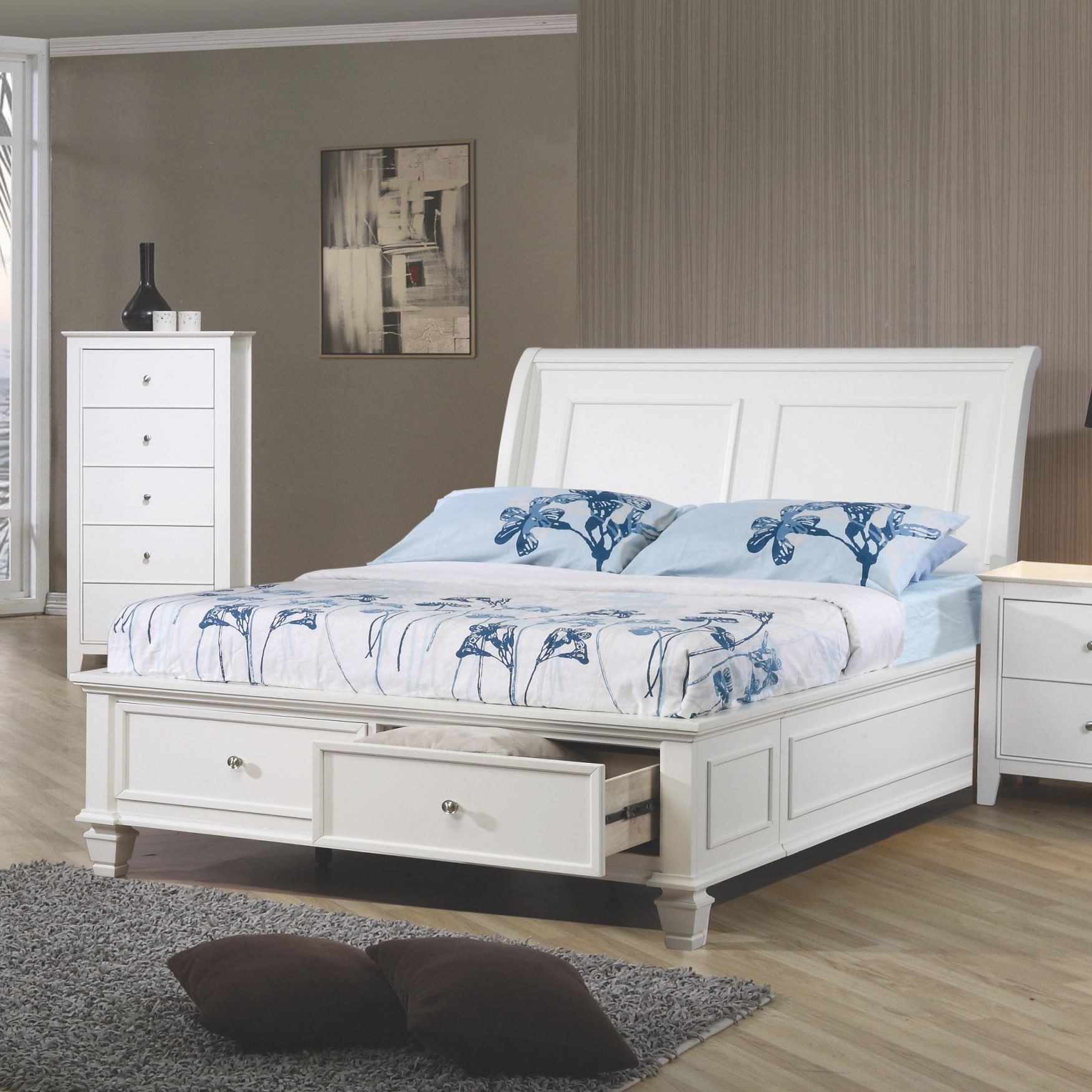 Sandy Beach Full Sleigh Bed With Footboard Storagecoaster At Value City Furniture with Full Size Bedroom Furniture Sets
