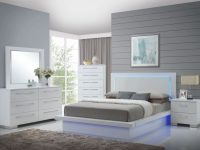 Sapphire High Gloss White Laminate Platform Bedroom Set regarding Bedroom Set Queen White