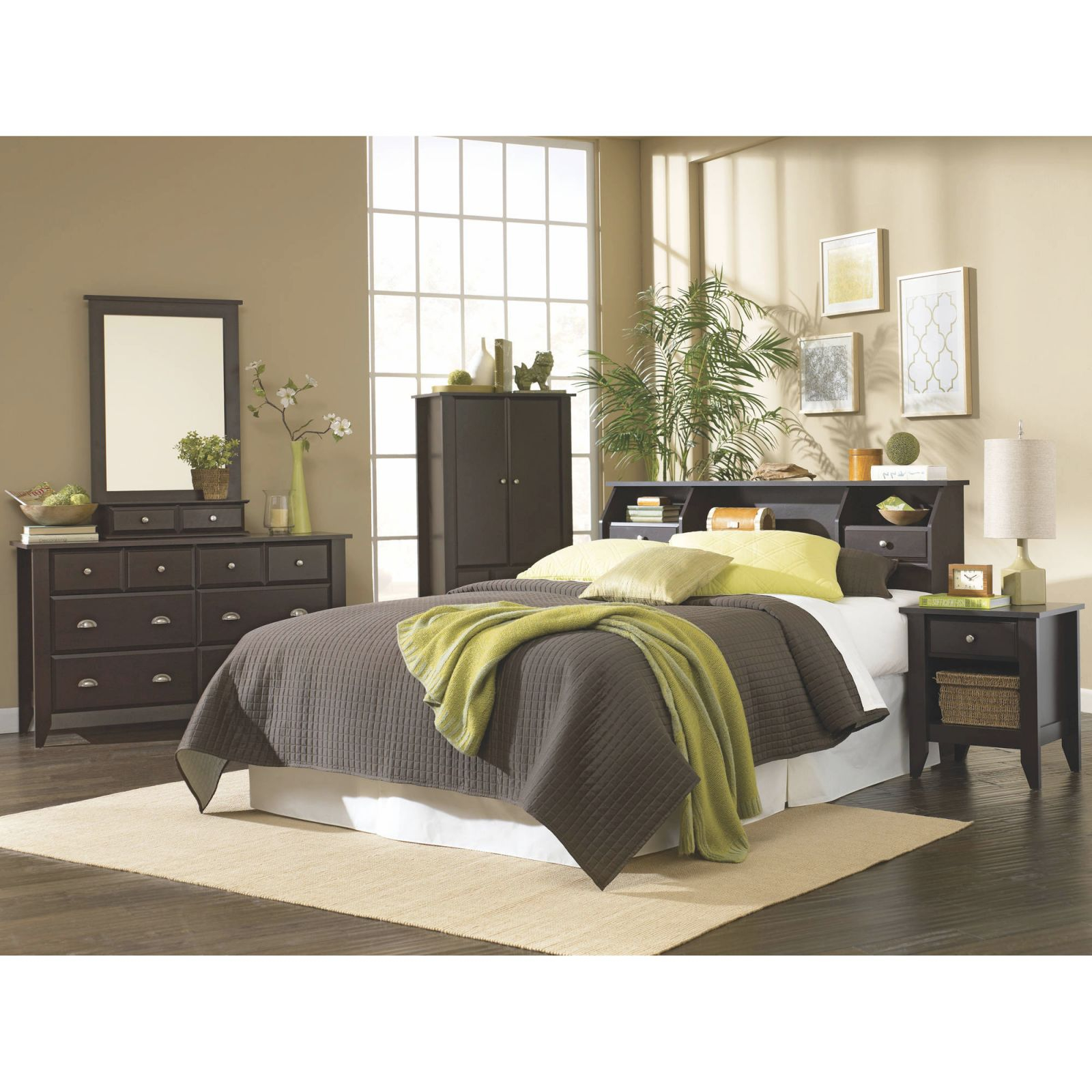 Sauder Shoal Creek Full/queen Bookcase Headboard, Multiple Colors with Full Size Bedroom Furniture Sets