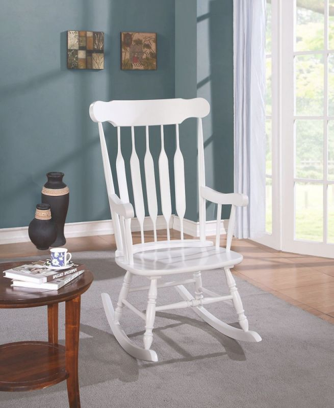 Simple Relax Kloris Collection Transitional Living Room Rocking Chair Wood In White Finish with regard to Best of Transitional Living Room Furniture