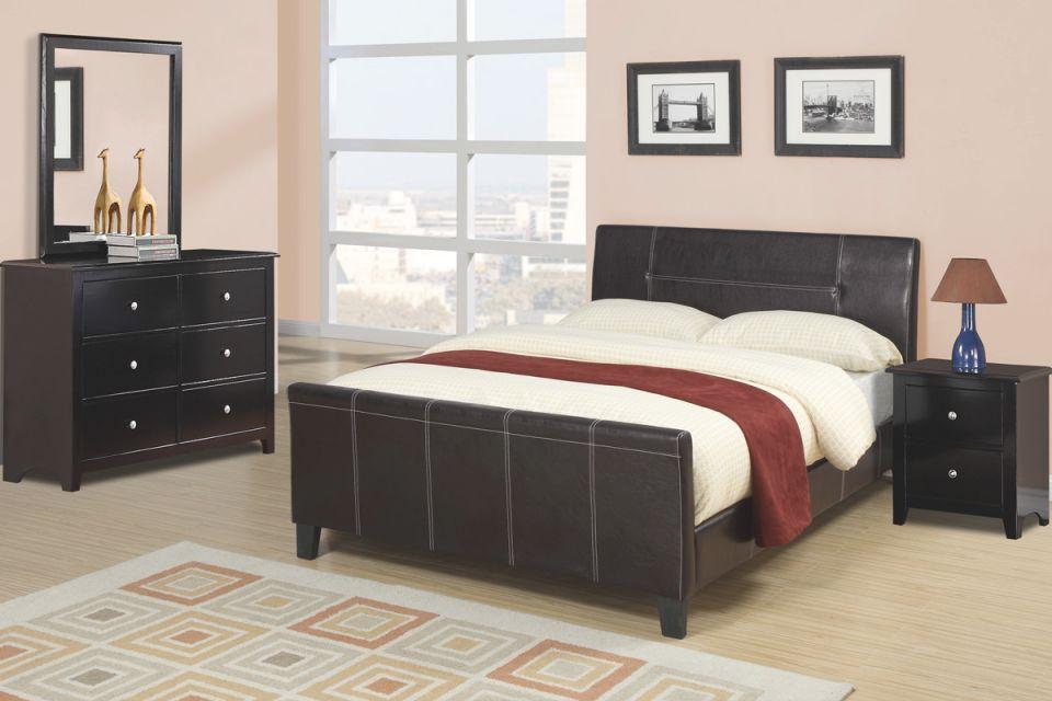 Sleek Design Modern Bedroom Furniture 4Pc Set Espresso Low Profile Platform Queen Size Bed W Faux Leather Upholstery Dresser Mirror Nightstand In in New Modern Bedroom Furniture Sets