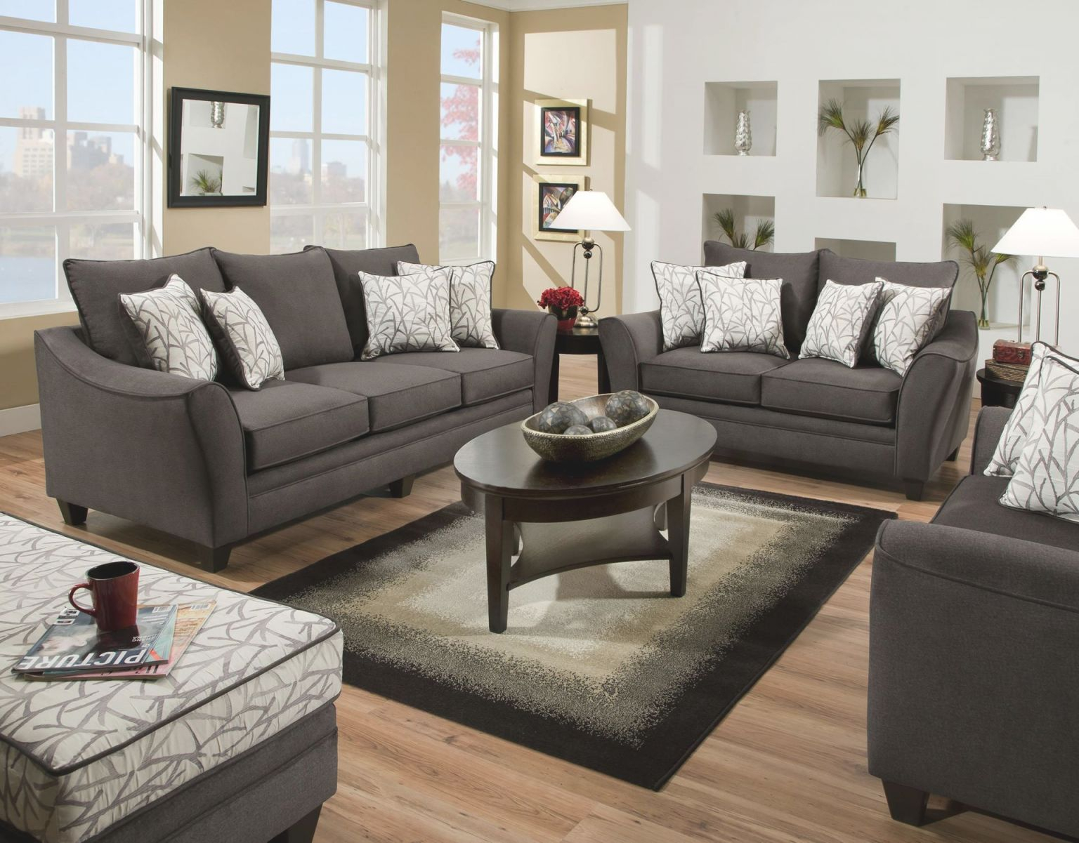 Sofia Slate Sofa And Loveseat with Living Room Furnitures