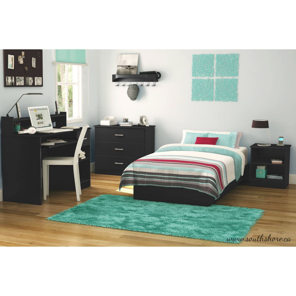 South Shore Smart Basics 3-Piece Bedroom Set With Desk, Multiple Finishes – Walmart with regard to Best of Bedroom Set With Desk
