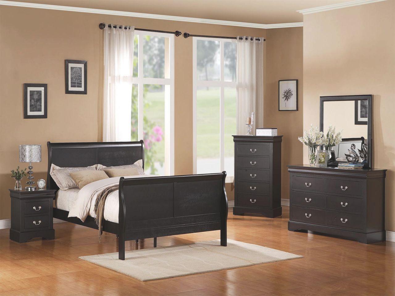 Standard Furniture Lewiston Panel Bedroom Set In Black for Cheap White Bedroom Furniture Sets