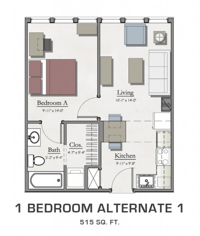Student Housing In East Lansing | Floor Plans For Msu Students pertaining to One Bedroom Apartment Floor Plans