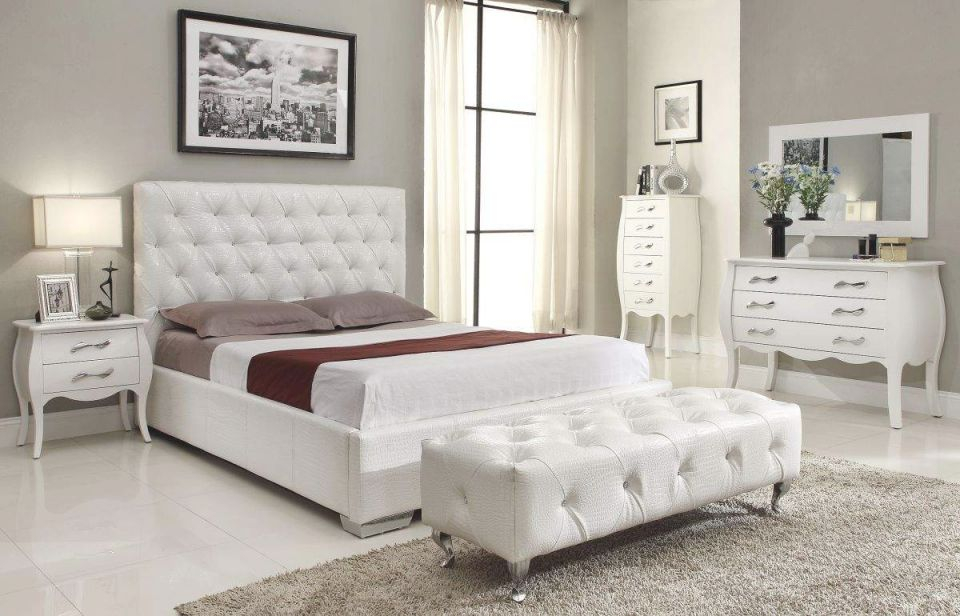 Stylish Leather High End Elite Furniture With Extra Storage for Beautiful Cheap White Bedroom Furniture Sets