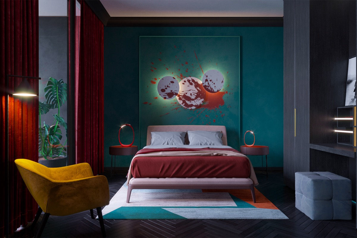 teal-red-and-gold-bedroom
