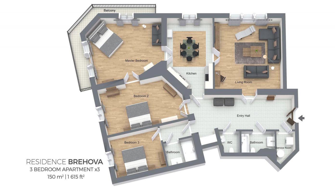 Three Bedroom Apartment | Residence Brehova throughout Three Bedroom Apartment